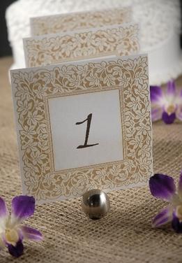Table Numbers White & Gold Lazer Cut Ivy Border 1-10 (10 cards)
