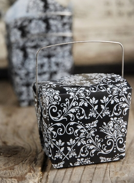 "Take Out Boxes Damask 2.5"" Black/White (12 boxes )"