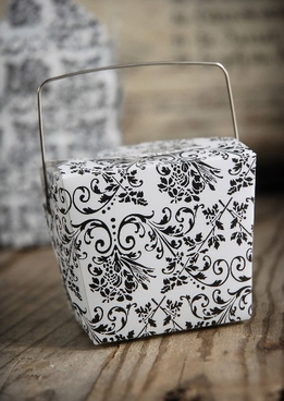 "Take Out Boxes Damask 2.5"" White/Black (12 boxes )"