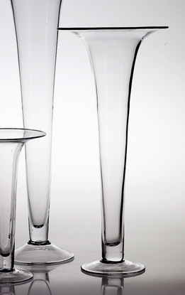 Tall Clear Glass Flared 23.5 Trumpet Vases