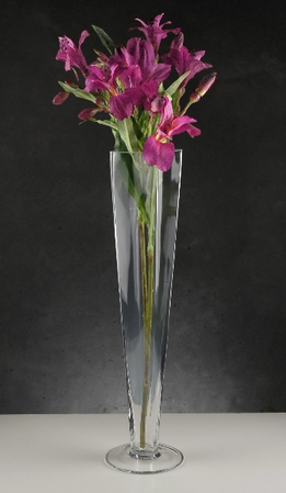 "Tall Clear Glass Vases 15-3/4"" square top"