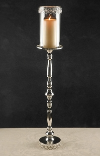 "Tall Silver 31"" Candleholder with Glass Shade"