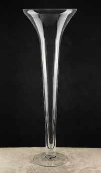 "Tall Vases Clear Glass 27"" Trumpet Vases"
