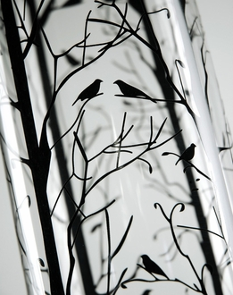 Bird and Branch Silhouette Glass Cylinder Vase 24 in.
