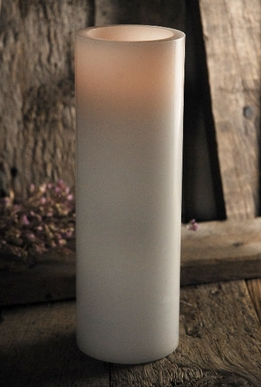 "Tall White LED Battery Operated 9"" Pillar Candles (touch function)"