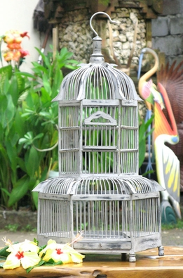"Teak Bird Cages White 22 "" tall"
