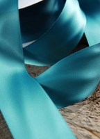 "Teal Blue Ribbon Satin Ribbon Double Face 1-1/2"" width 25 yards"
