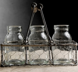 Three Glass Bottles in Chicken Wire Basket