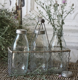 Three Milk Bottles in Chicken Wire Carrier