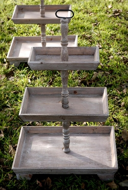 Rustic Wood 3 Tier Stand (set of two)