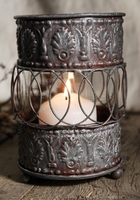 Tin Can Embossed 3.75x 5.5 Candleholders