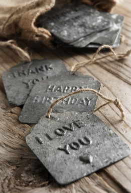 Embossed Tin Tags in Burlap Bag (12 tags)
