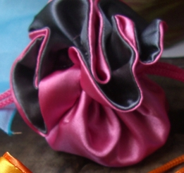 "Tiny 2.5"" Satin Favor Bags Fuchsia & Dark Grey (12 bags)"