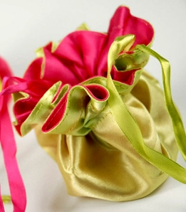 "Tiny 4"" Satin Favor Bags Chartreuse & Hot Pink Reversible 4"""