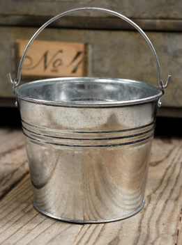 "Tiny 4"" Silver Galvanized Bucket with Handle"