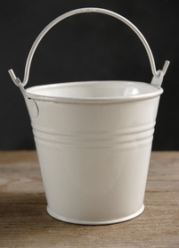Tiny White Buckets with Handle 4in