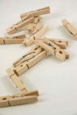 "Tiny Wood Clothes Pins (24 pins) 1-3/4"" size"