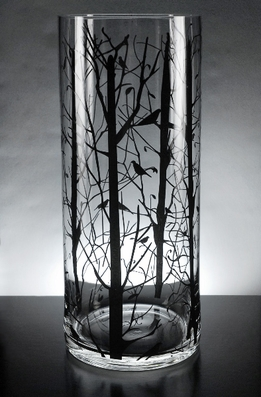 Bird and Branch Silhouette Glass Cylinder Vase 14 in.