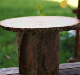 Tree Trunk Wood Cake Stand Natural
