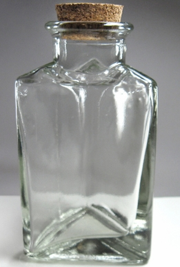 Clear Glass Triangle Bottle With Cork Top 4.25in | 3.5oz (Pack of 6)