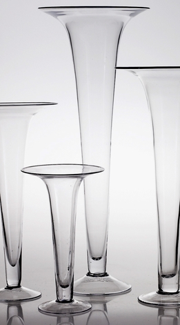 "Trumpet Vases 29.5"" Clear Glass"