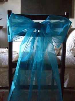 Turquoise Blue Organza Chair Bows (Pack of 10)