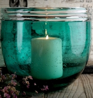 Turquoise Bubble Glass Vase