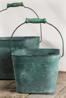 Verdigris Copper Buckets (Set of two)