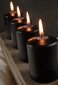 "Unscented 3"" Pillar Candles Black Cotton Wick (4 candles/pkg)"