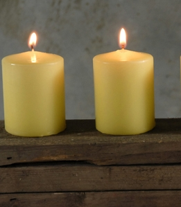 "Unscented 3"" Pillar Candles Buttercup Yellow Cotton Wicks (4 candles/pkg)"
