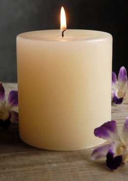 Unscented Candles 4x4 Ivory Pillar Cotton Wicks