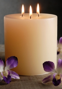 Unscented Pillar Candles 3 Wick 5x5 Ivory Cotton Wicks