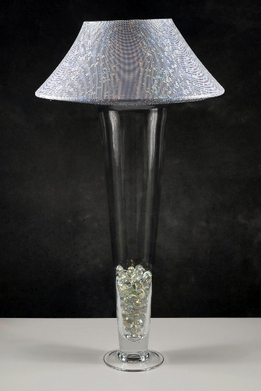 Vase Lamp Shade Lights w/ Silver Microdot Lamp Shade