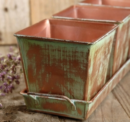 Verdigris Copper Herb Planters & Tray