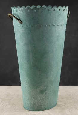 Verdigris Cooper Scalloped 11x18 Flower Market Buckets
