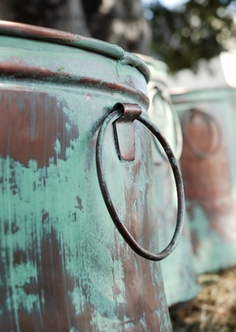 Verdigris Copper Bucket Planters (set of three)
