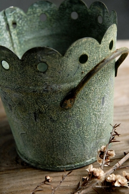 Verdigris Metal Pail with Scalloped Edges