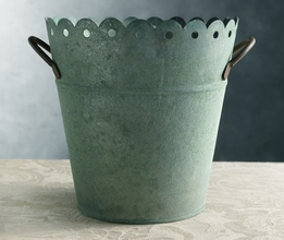 Verdigris Scalloped Metal Bucket