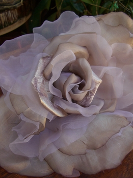 "Vintage 15"" Chiffon, Silk and Organdy Taupe Rose"
