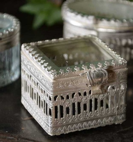 "Vintage Ring Box 2"" Square Pewter and Glass"