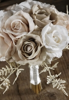 Vintage Silk Rose and Fern Bouquet