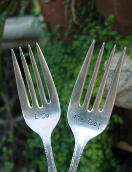 Vintage Silver Wedding Cake Forks I do & Me too - set