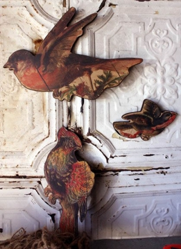Vintage Wood Birds ( set of three)