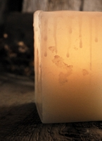 Wax Shell Candle Luminaries 3x4 Round Ivory