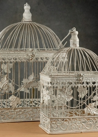 Wedding Birdcages White Metal (Set of 2)