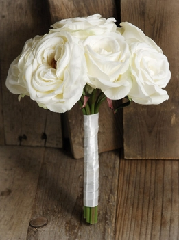 Wedding Bouquets Silk Cream White Roses