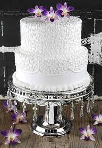 Wedding Cake Pedestal Silver Plate with Crystal Dangles 12x8