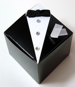 "Wedding Favor Boxes THE GROOM - Tuxedo 2-1-/2"" (12 boxes/ pkg)"