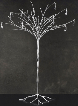 "Wediding Trees 44"" Silver Tree w/ Crystals"