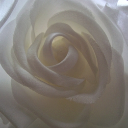 "White 4"" Fabric Rose with Salon Style Clip & Pin"
